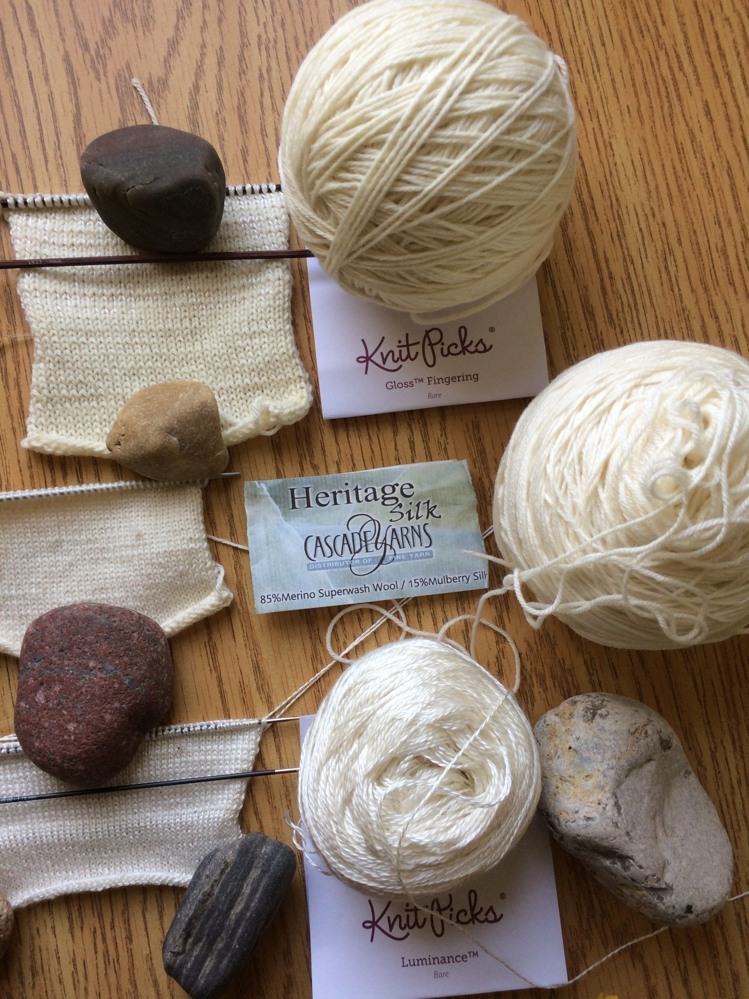 Test knit swatches in silk and wool