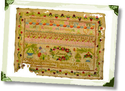 This late 19th Century sampler was stitched by Letitia Salter, of Sullivan Township, in 1883.