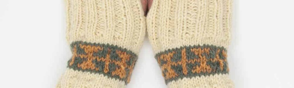 The Huron Wristers, inspired by the colourwork pattern of Herbert's gloves.