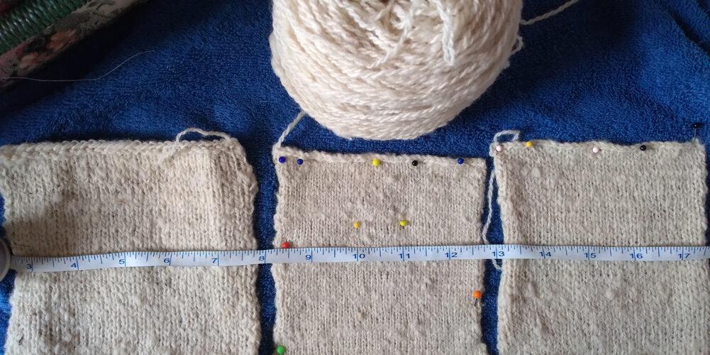 Huron County Arcott knitting sample trio