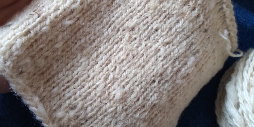 Huron County Arcott knitting sample swatch loose